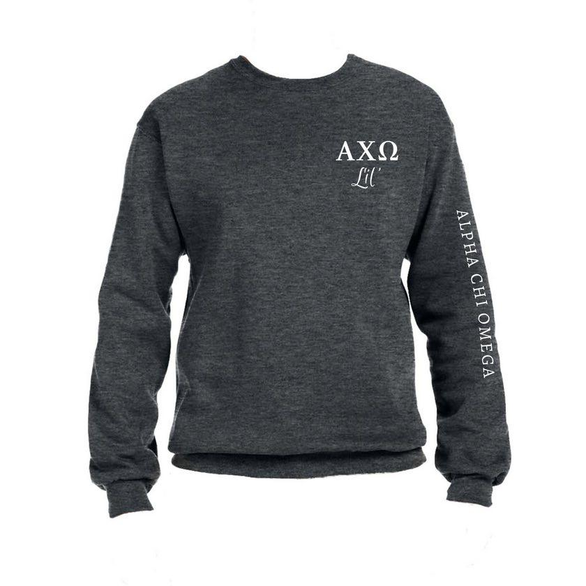 Big & Little Sweatshirts . Crew with Greek Letters & Sorority Name Down Arm (Select Sorority)