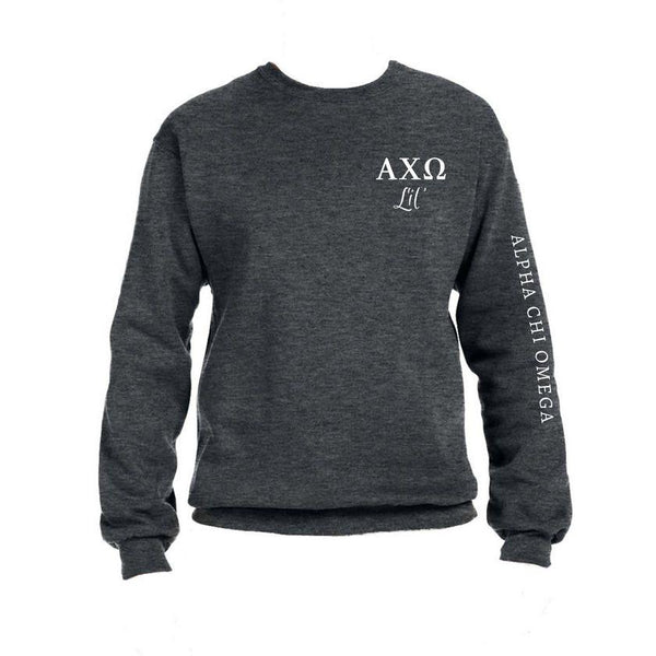 Alpha Chi Omega Little Crew Sweatshirt with Greek Letters and Sorority Name Down Arm