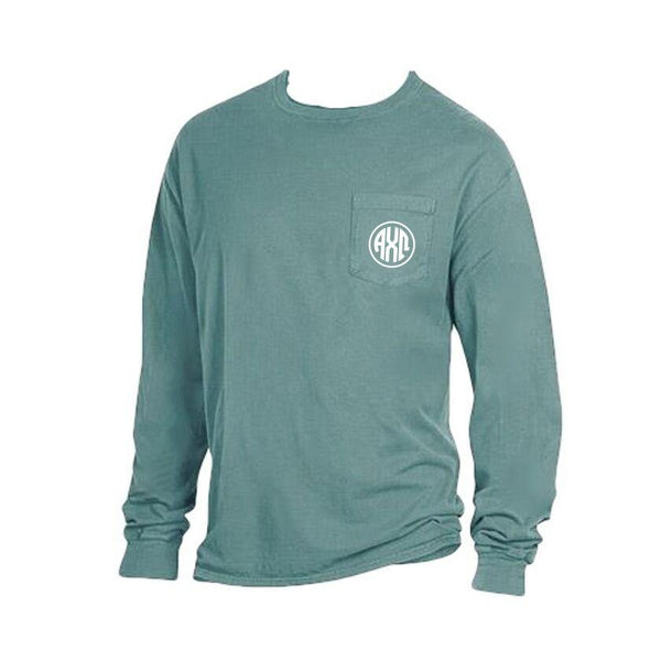 Green Alpha Chi Omega Long Sleeve Shirt with Greek Monogram on pocket. Comfort Wash.