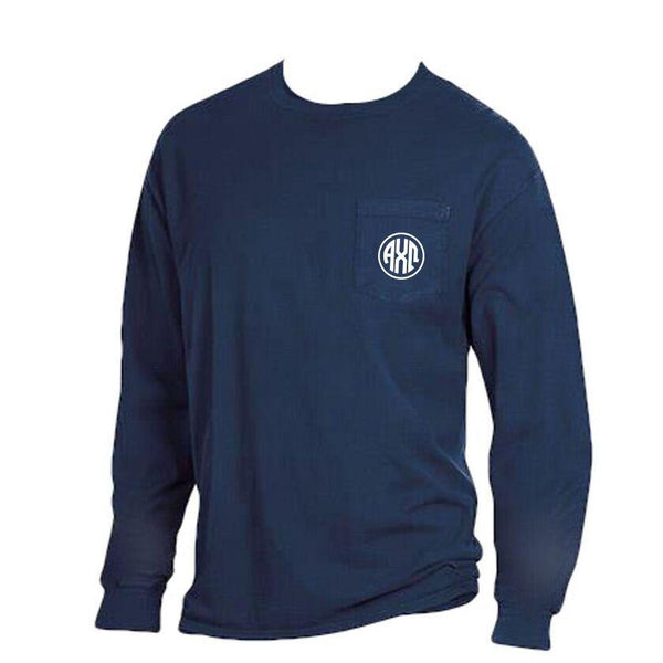 Navy Blue Alpha Chi Omega Long Sleeve Shirt with Greek Monogram on pocket. Comfort Wash.