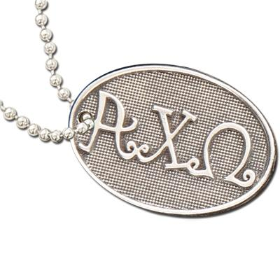 Alpha Chi Omega Luggage Tag I Pewter