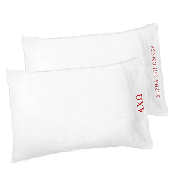Alpha Chi Omega pillowcases with Greek Letters & Sorority Name. Buy the set or individual. The perfect sorority gift!