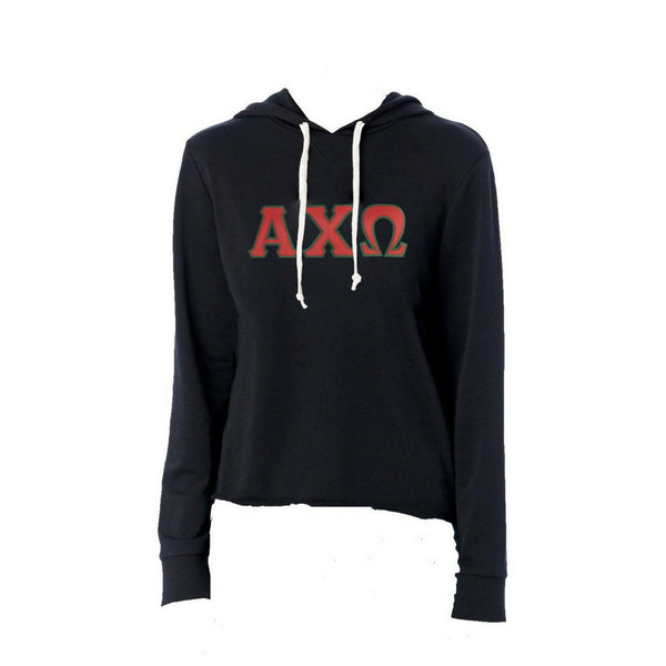 Alpha Chi Omega sweatshirt with stitched Greek Letters. #AlphaChiOmega french terry hoodie sweatshirt. Shop #ACHIO Clothing Collection for other coordinating items available only at M&D Sorority Gifts! #AXO