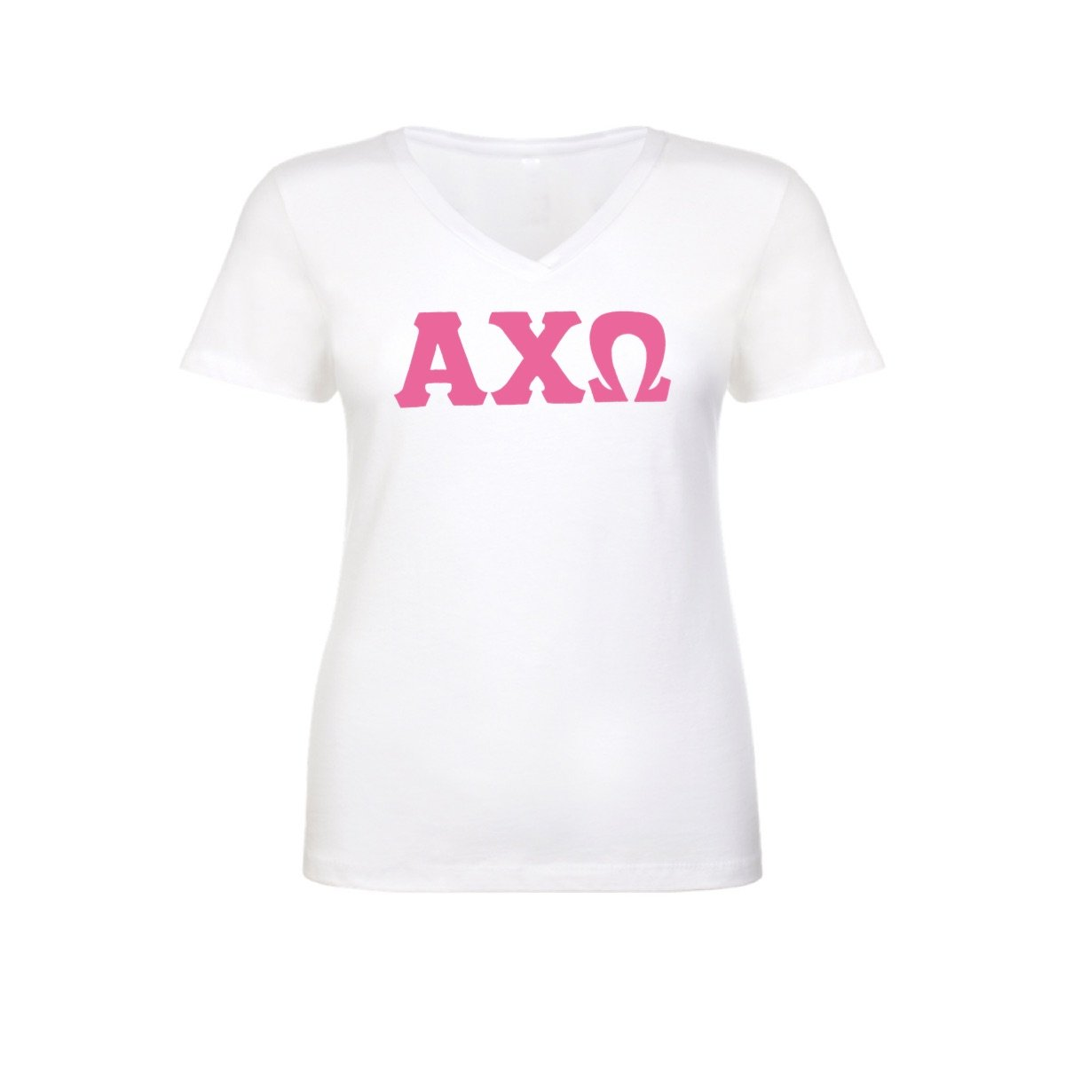 White Alpha Chi Omega Greek Lettered V-neck T-shirt with Pink Stitched Greek Letters