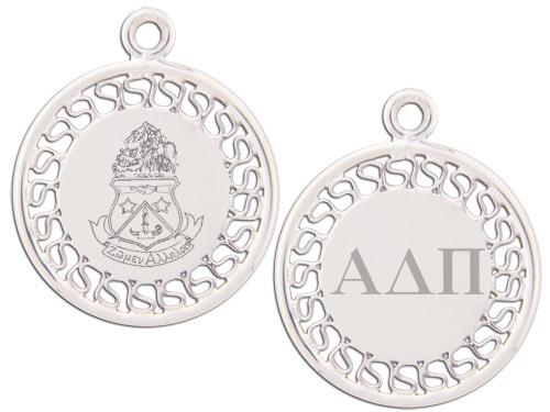 Alpha Delta Pi charm. Reversible filigree design with Greek Letters & Greek Crest. Add a 16 in, 18 in, or 20 in sterling silver box chain. Is it a gift? Let us ship for you in a gift box tied with ribbon and a handwritten gift card. #AlphaDeltaPi jewelry to love. Shop #adpi gifts at M&D Sorority Gifts!