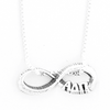 Alpha Delta Pi infinity charm in sterling silver with Greek letters. Add a 16 in, 18 in, or 20 in sterling silver box chain. Is it a gift? Let us ship for you in a gift box tied with ribbon and a handwritten gift card. #AlphaDeltaPi jewelry to love. Shop #adpi gifts at M&D Sorority Gifts!