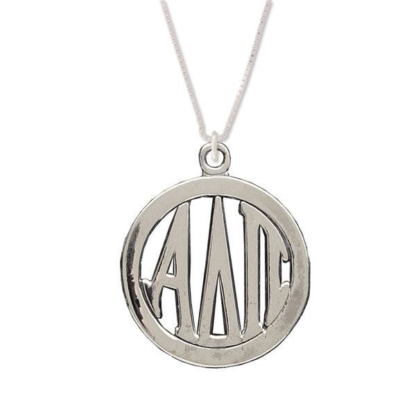 Alpha Delta Pi Charm: Large Greek Monogram in Beautiful Sterling Silver. Add a 16 in, 18 in, or 20 in sterling silver box chain. Is it a gift? Let us ship for you in a gift box tied with ribbon and a handwritten gift card. #AlphaDeltaPi jewelry to love. Shop #adpi gifts at M&D Sorority Gifts!