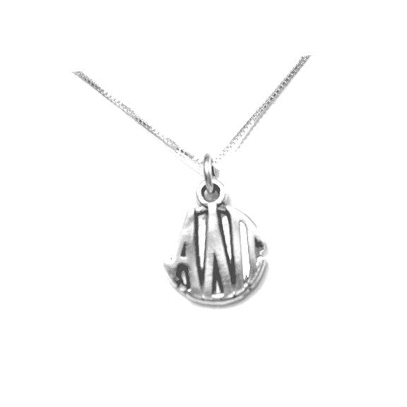 Alpha Delta Pi Charm Sterling Silver Monogram Circle Drop. Chains available. #AlphaDeltaPi jewelry to love. Shop #adpi gifts at M&D Sorority Gifts!