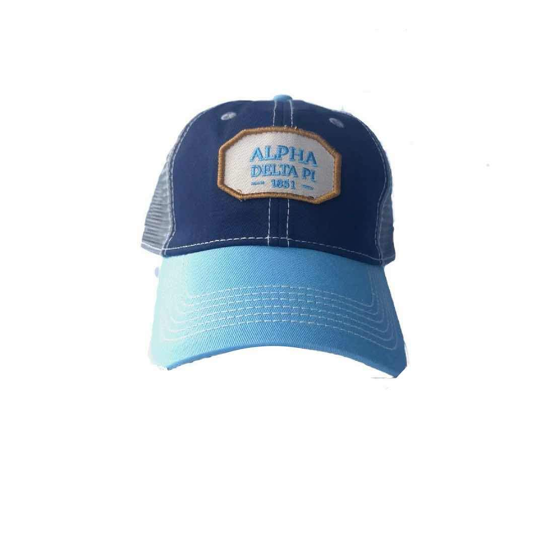 Alpha Delta Pi hat with Greek words and Greek Letters. Fun colorful trucker style. Shop #AlphaDeltaPi Accessories. Perfect for bid day, big little, and more. Shop #ADPI