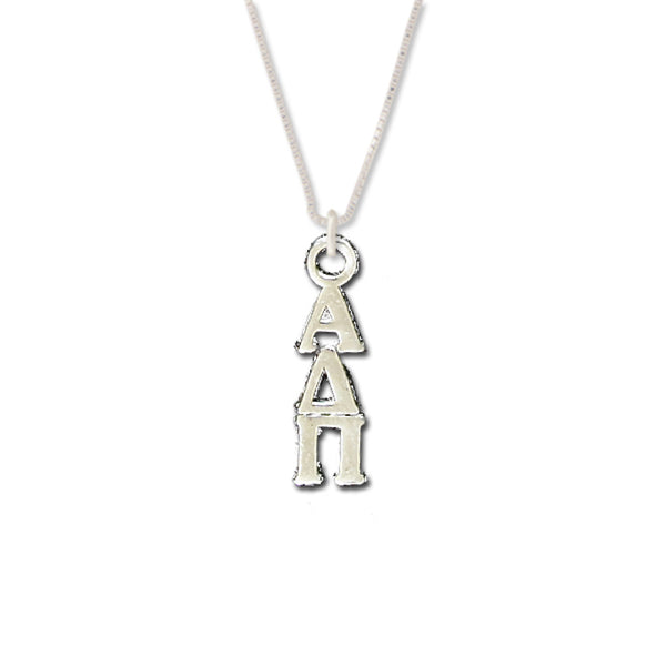 Alpha Delta Pi Lavaliers sterling silver. Add a 16 in, 18 in, or 20 in sterling silver box chain. Is it a gift? Let us ship for you in a gift box tied with ribbon and a handwritten gift card. #AlphaDeltaPi jewelry to love. Shop #adpi gifts at M&D Sorority Gifts!