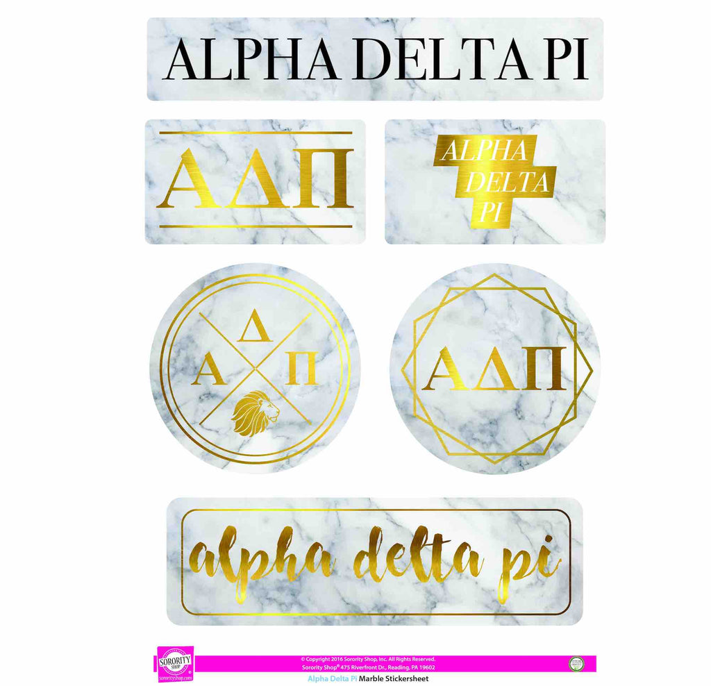 Alpha Delta Pi Sticker Sheet . Marble