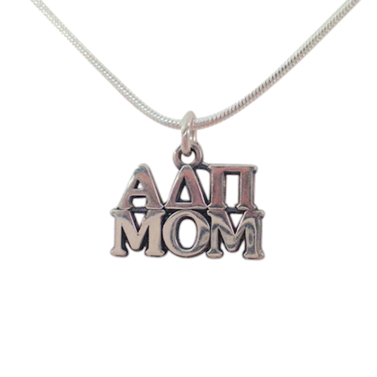 Alpha Delta Pi Mom Charm the perfect sorority mom gift! Add a 16 in, 18 in, or 20 in sterling silver box chain. Is it a gift? Let us ship for you in a gift box tied with ribbon and a handwritten gift card. #AlphaDeltaPi jewelry to love. Shop #adpi gifts at M&D Sorority Gifts!