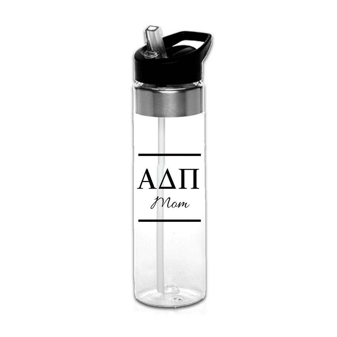 Alpha Delta Pi Water Bottles with Greek Letters in black or gold with optional personalization. Super cute sorority gift filled with jelly beans or their favorite candy. Features screw off lid so fill it to the top with ice!