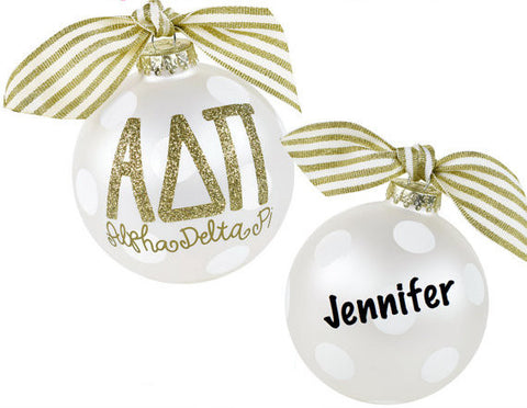 Alpha Delta Pi Ornament . Gold Glitter . Optional Personalization