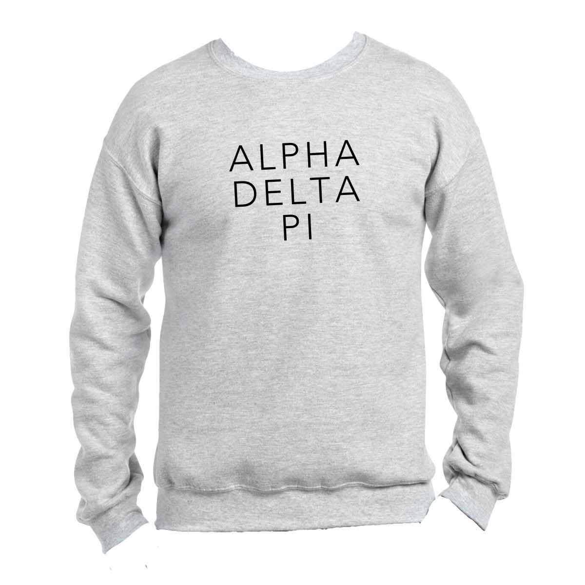 Alpha Delta Pi Sweatshirt with black greek words, light grey crew sweatshirt or hoodie Shop #AlphaDeltaPi clothing at M&D Sorority Gifts. 200+ #ADPI products available. #mdsororitygifts