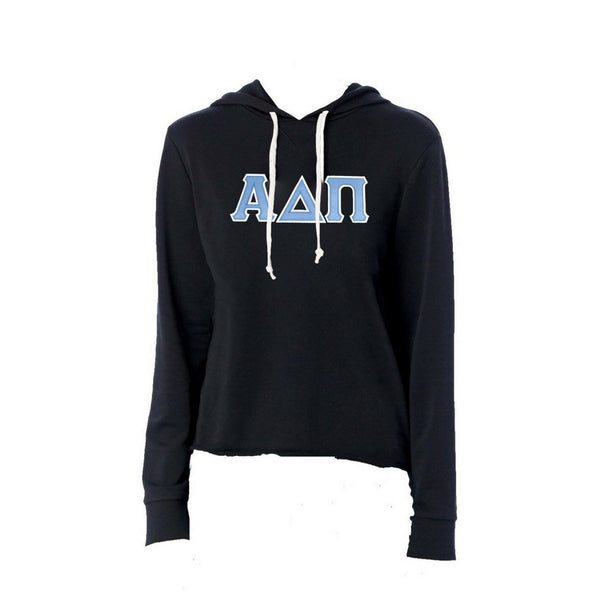 Alpha Delta Pi sweatshirt with stitched Greek Letters. #AlphaDeltaPi french terry hoodie sweatshirt. Shop #adpi Clothing Collection for other coordinating items available only at M&D Sorority Gifts!