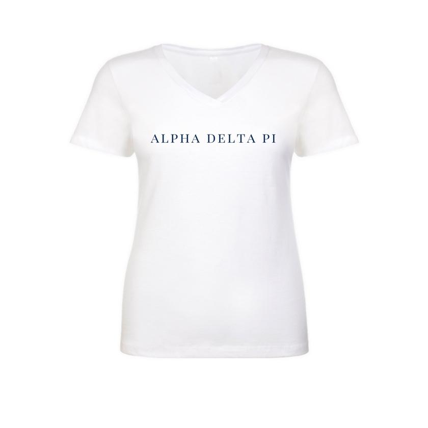 Alpha Delta Pi White v-neck t-shirt with sorority name across chest in block style lettering. Shop #AlphaDeltaPi clothing at M&D Sorority Gifts. #ADPI