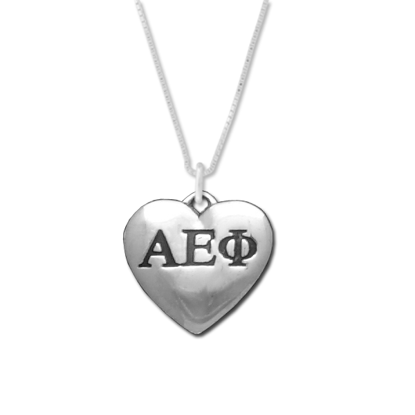 Alpha Epsilon Phi charm in sterling silver for a beautiful sorority necklace.