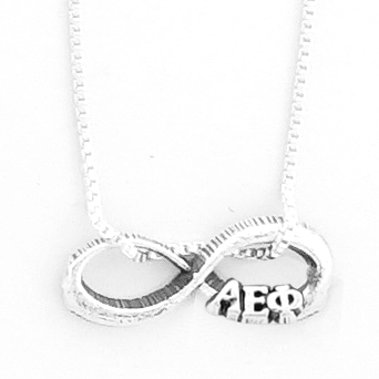Alpha Epsilon Phi infinity charm in sterling silver with Greek letters.