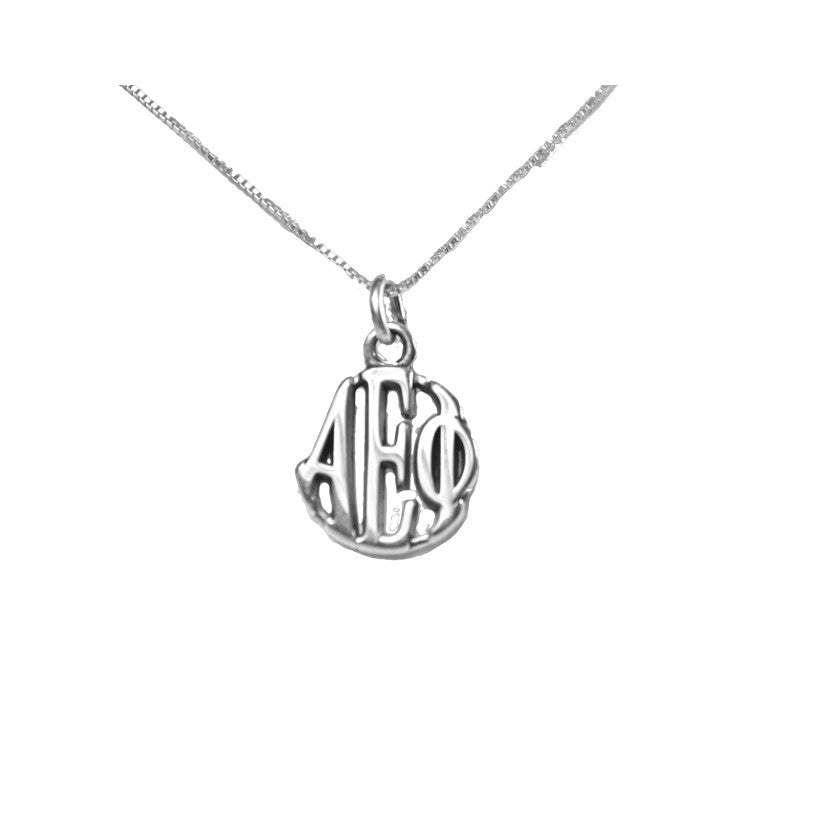 Alpha Epsilon Phi Charm Sterling Silver Monogram Circle Drop. Chains available.