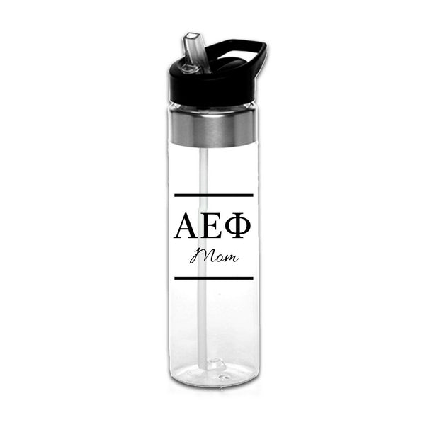 Alpha Epsilon Phi Water Bottles with Greek Letters in black or gold with optional personalization. Super cute sorority gift filled with jelly beans or their favorite candy. Features screw off lid so fill it to the top with ice!