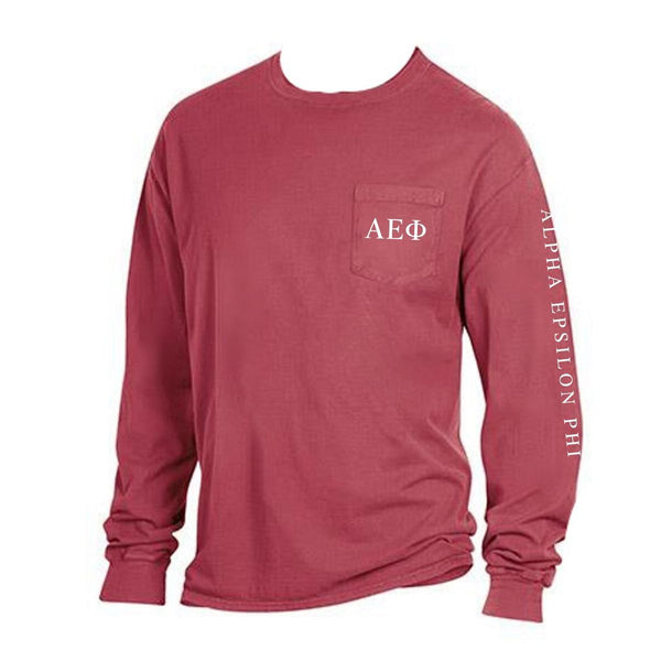 Red Alpha Epsilon Phi Long Sleeve Shirt with Greek Letters on Pocket + Greek Words down arm.