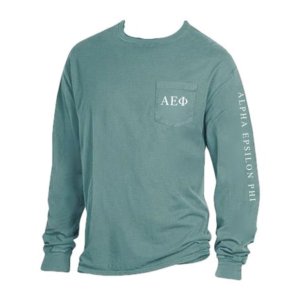 Green Alpha Epsilon Phi Long Sleeve Shirt with Greek Letters on Pocket + Greek Words down arm.