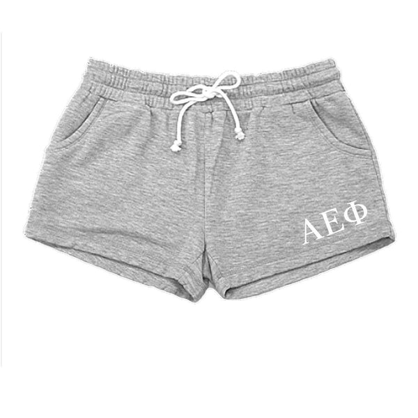 Alpha Epsilon Phi shorts with Greek Letters, pockets and drawstring.