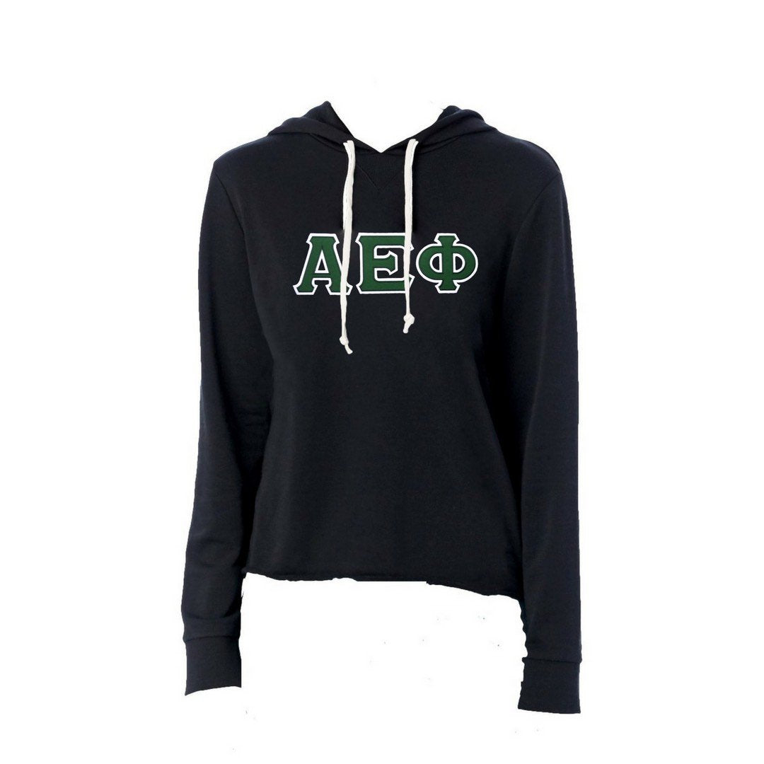 Alpha Epsilon Phi sweatshirt with stitched Greek Letters. #AlphaEpsilonPhi french terry hoodie sweatshirt. Shop #aephi Clothing Collection for other coordinating items available only at M&D Sorority Gifts!