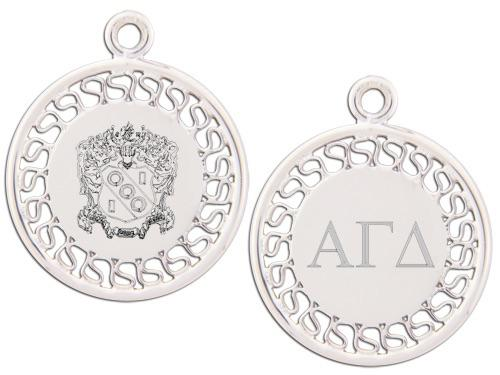 Alpha Gamma Delta charm. Reversible filigree design with Greek Letters & Greek Crest.