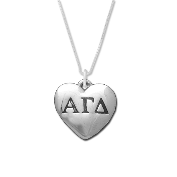 Alpha Gamma Delta charm in sterling silver for a beautiful sorority necklace.
