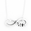 Alpha Gamma Delta infinity charm in sterling silver with Greek letters.