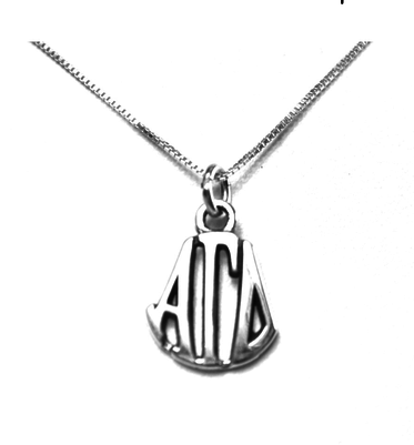 Alpha Gamma Delta Charm Charm Sterling Silver Monogram Circle Drop. Chains available.