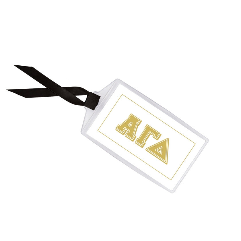 Alpha Gamma Delta Luggage Tag . Metallic Gold Design