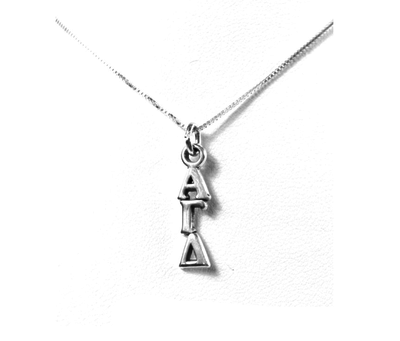 Alpha Gamma Delta Lavaliers sterling silver. Add a 16 in, 18 in, or 20 in sterling silver box chain. Is it a gift? Let us ship for you in a gift box tied with ribbon and a handwritten gift card.