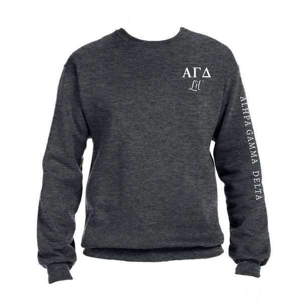 Alpha Gamma Delta Little Crew Sweatshirt with Greek Letters and Sorority Name Down Arm