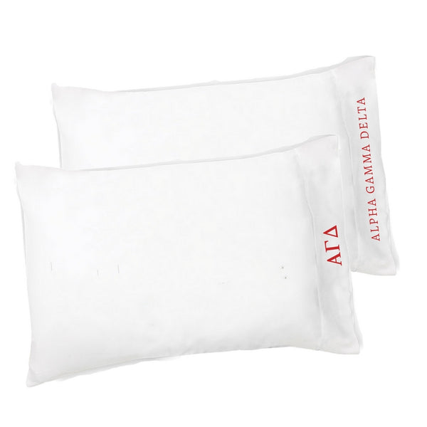 Alpha Gamma Delta pillowcases with Greek Letters & Sorority Name. Buy the set or individual. The perfect sorority gift!