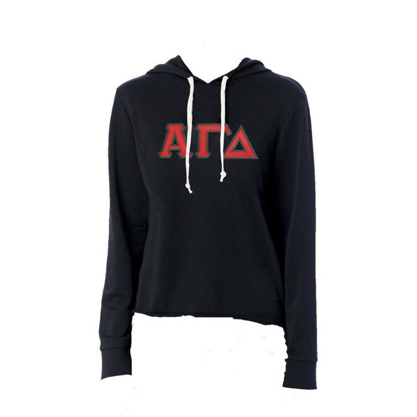 Alpha Gamma Delta sweatshirt with stitched Greek Letters. #AlphaGammaDelta french terry hoodie sweatshirt. Shop #AGD Clothing Collection for other coordinating items available only at M&D Sorority Gifts!