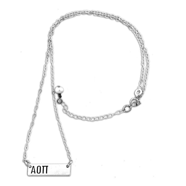 Alpha Omicron Pi Bar necklace with adjustable chain.