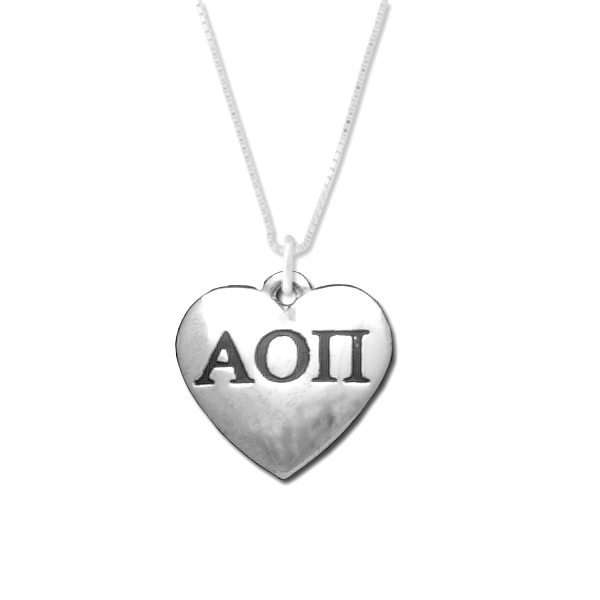 Alpha Omicron Pi charm in sterling silver for a beautiful sorority necklace.