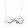 Alpha Omicron Pi infinity charm in sterling silver with Greek letters.