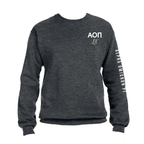 Alpha Omicron Pi Little Crew Sweatshirt with Greek Letters and Sorority Name Down Arm
