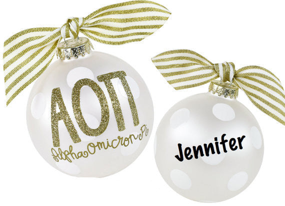 Alpha Omicron Pi Ornament, collectible gold greek letters