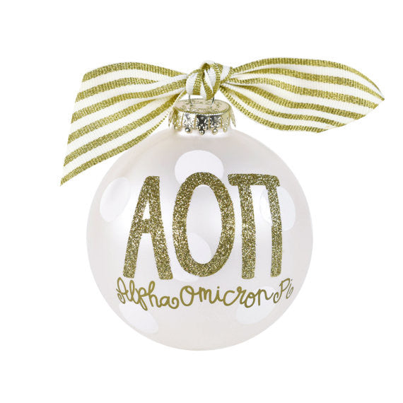 Alpha Omicron Pi Ornament . Gold Glitter . Optional Personalization