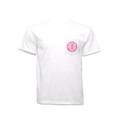 Alpha Omicron Pi pocket shirt with Greek Monogram on pocket. Cheap sorority shirts you will love. Greek Monogram available in pink, blue, gold, navy blue, red, green, maroon or dark teal.