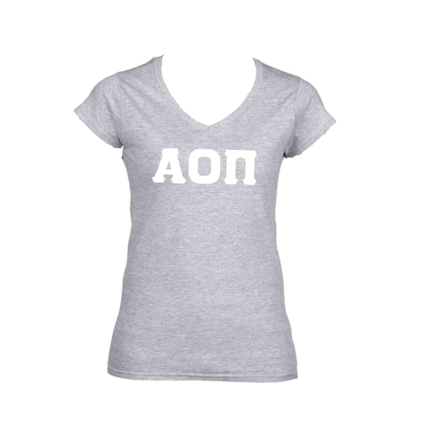 Alpha Omicron Pi Greek Lettered V-neck T-shirt with White Stitched Greek Letters