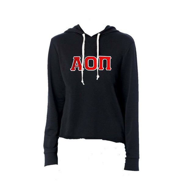 Alpha Omicron Pi sweatshirt with stitched Greek Letters. #AlphaOmicronPi french terry hoodie sweatshirt. Shop #AOPII Clothing Collection for other coordinating items available only at M&D Sorority Gifts!