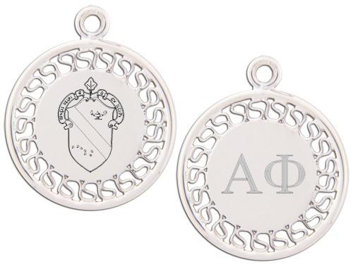 Alpha Phi charm. Reversible filigree design with Greek Letters & Greek Crest.