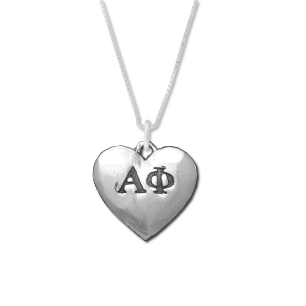 Alpha Phi charm in sterling silver for a beautiful sorority necklace.