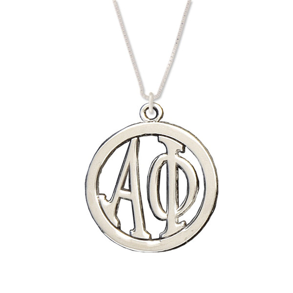 Alpha Phi Charm: Large Greek Monogram in Beautiful Sterling Silver